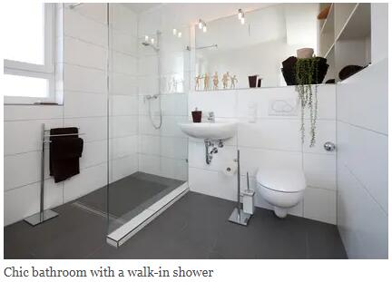 Chic bathroom with a walk-in shower